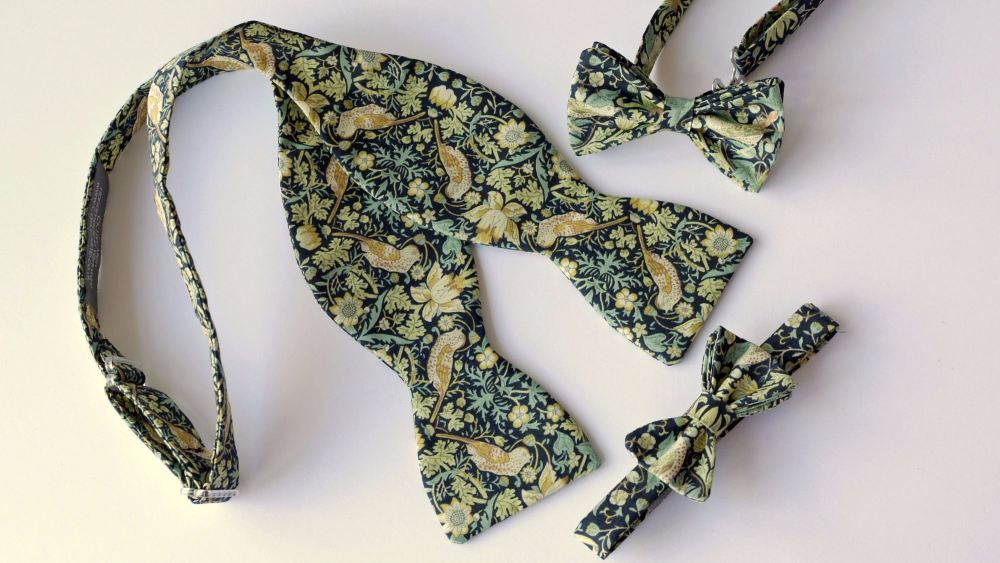 Liberty bow ties for men with matching boy's bow ties