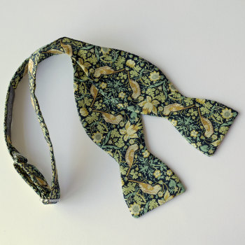 Strawberry Thief green Liberty print bow tie