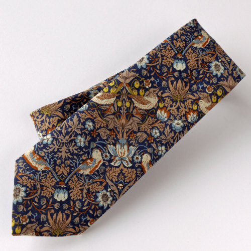 Gentleman's hand stitched tie - Strawberry Thief blue and brown