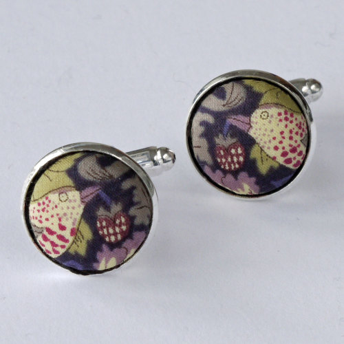 Liberty tana lawn silver plated cufflinks - Strawberry Thief