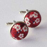 Liberty design Mitsi Valeria cufflinks - red and white floral cufflinks