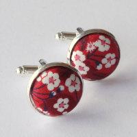 Liberty design Mitsi Valeria cufflinks - red and white floral cufflinks