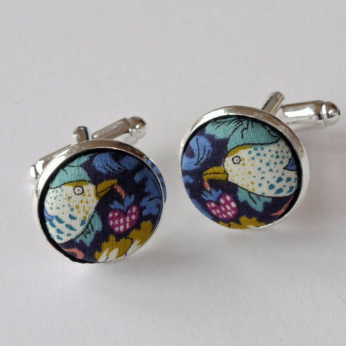 Liberty Strawberry Thief blue silver plated cuff links