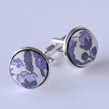 Meadow lilac floral Liberty cufflinks