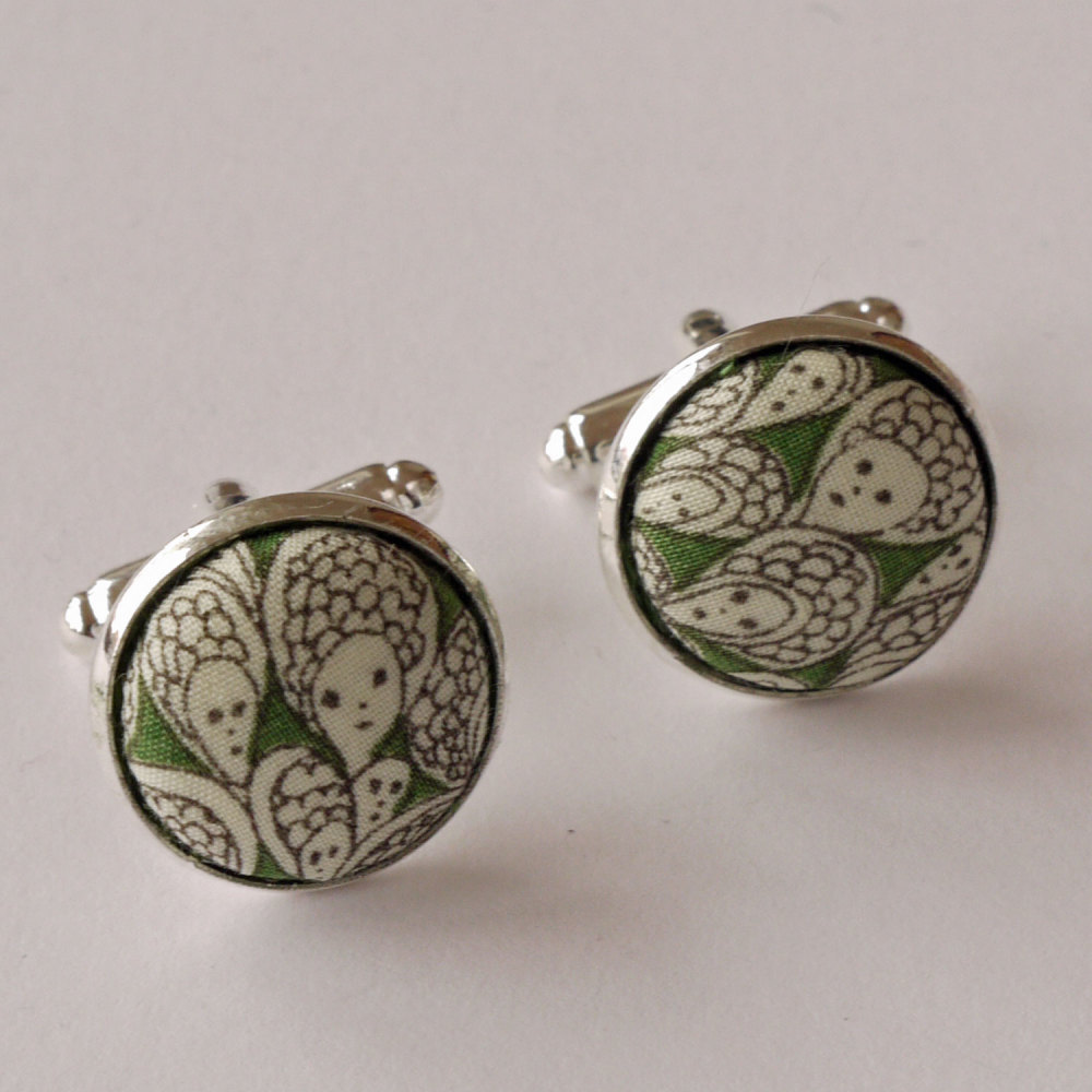 Liberty print cufflinks - Liberty's Grayson Perry design Cranford in green