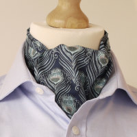 Blue peacock feather design cravat made from Liberty fabric