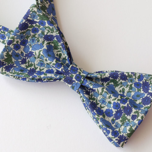 Liberty bow tie - Petal and Bud blue and green floral bow tie