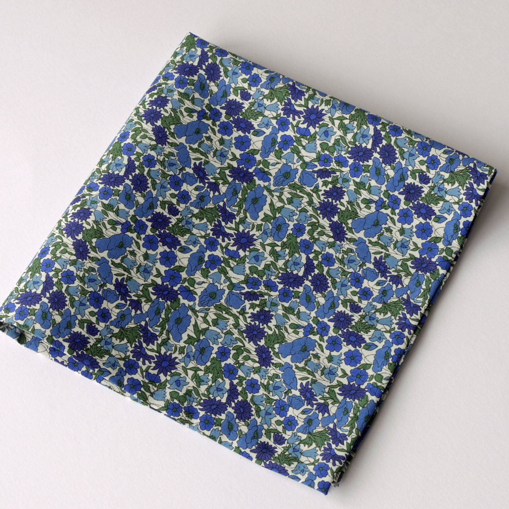 Blue floral pocket square - Liberty tana lawn Petal and Bud