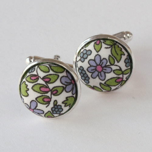Liberty tana lawn cufflinks - Emilia's Flowers green