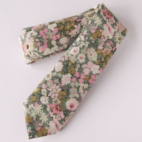 Handmade floral Liberty print tie - Thorpe pink and green