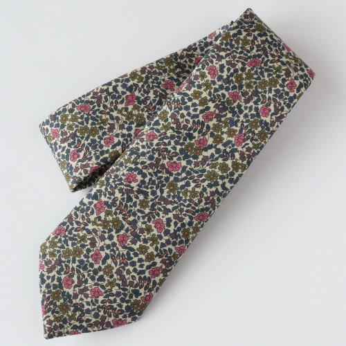 Floral Liberty tie - Emilia's Flowers green and pink