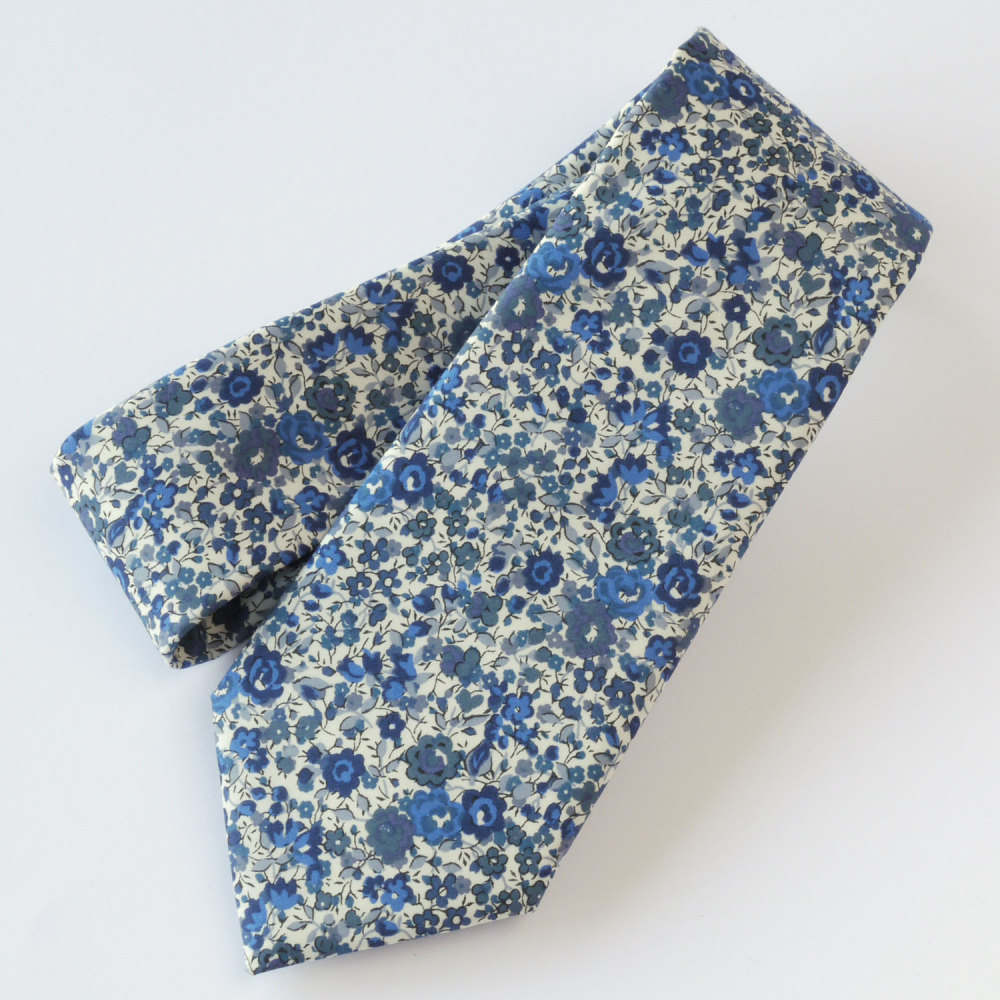 Floral Liberty print tie - Emma and Georgina blue tie