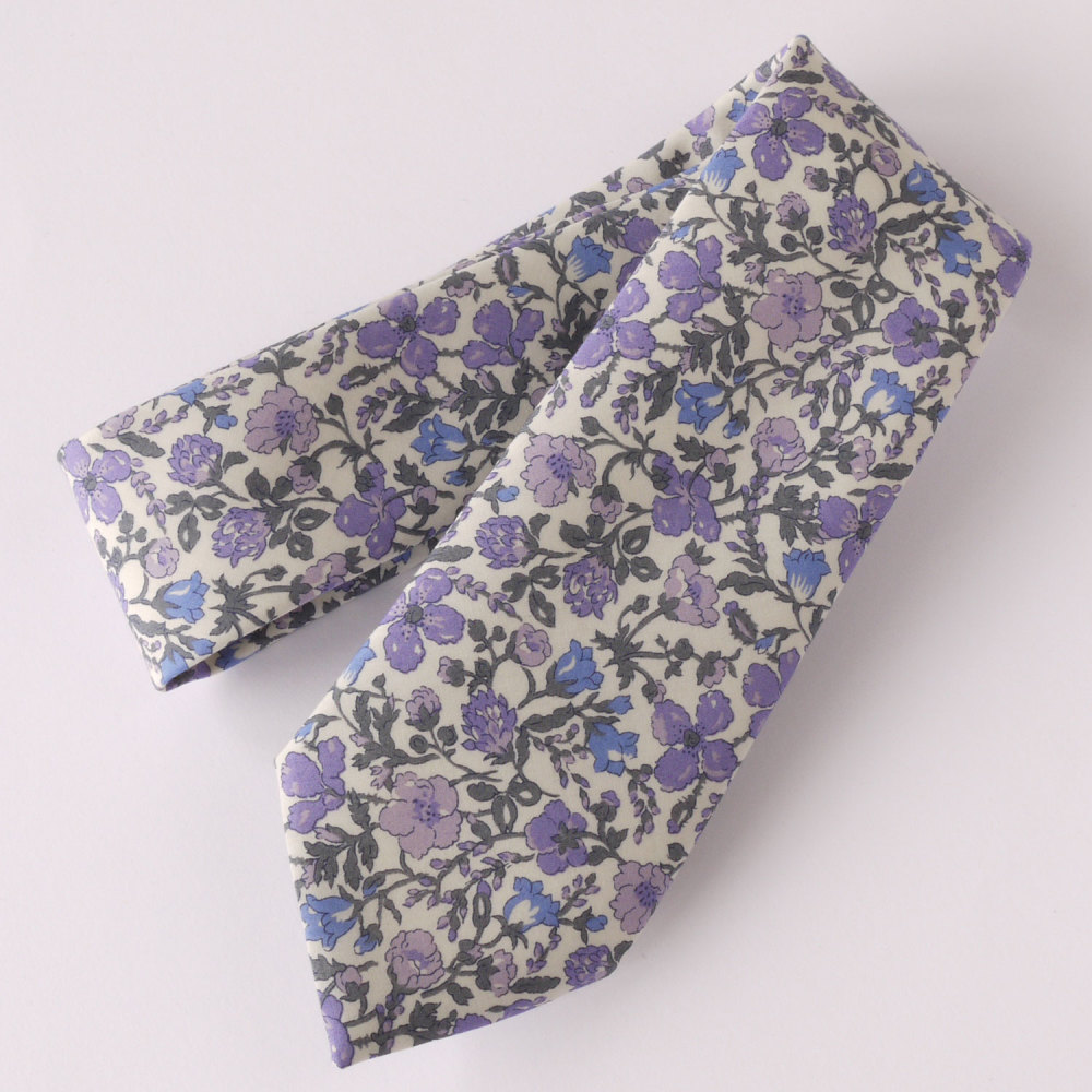 Floral Liberty print tie - Meadow lilac and blue tie