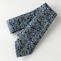 Floral Liberty tie - Petal and Bud blue and green tie
