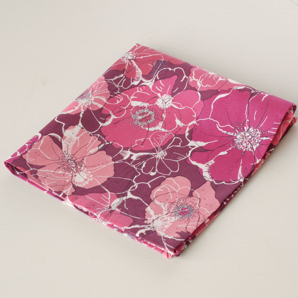 Red floral pocket square - Liberty tana lawn Poppy and Rose
