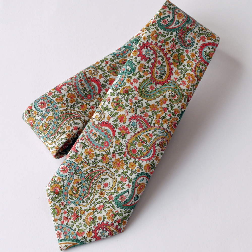 Gentleman's hand-stitched paisley tie - Charles orange