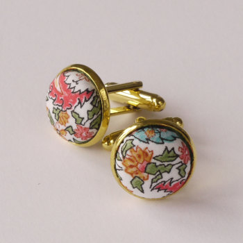 Liberty print Charles gold plated cuff-links