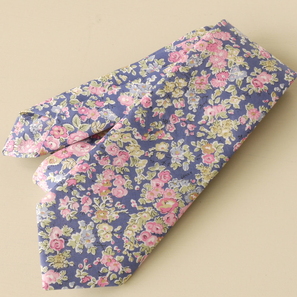 Custom order for 8 hand-stitched floral pink and blue ties, one pocket squa