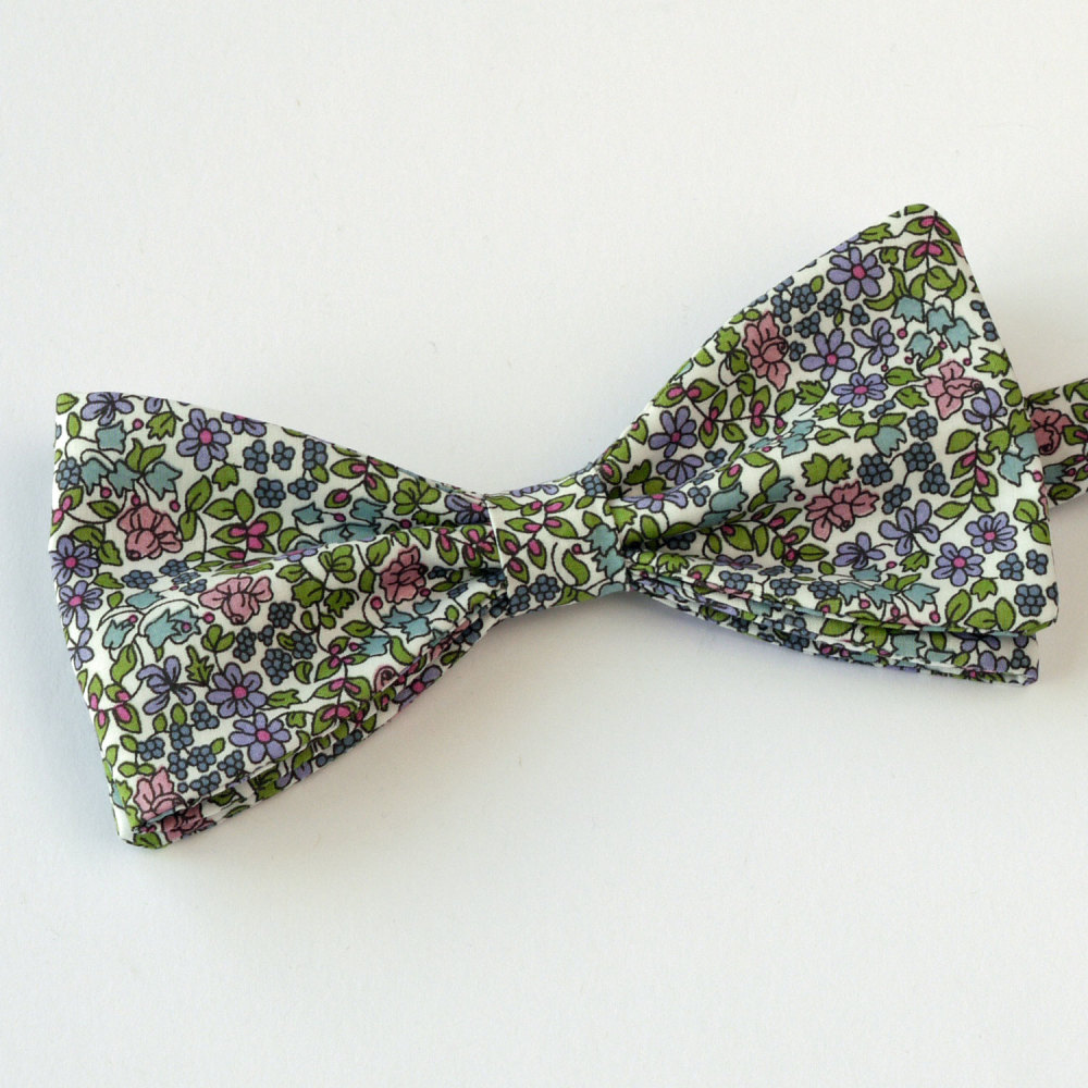 Floral Liberty print bow tie - Emilia's Flowers green