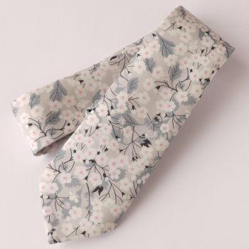 Gentleman's hand-stitched floral tie - Mitsi grey