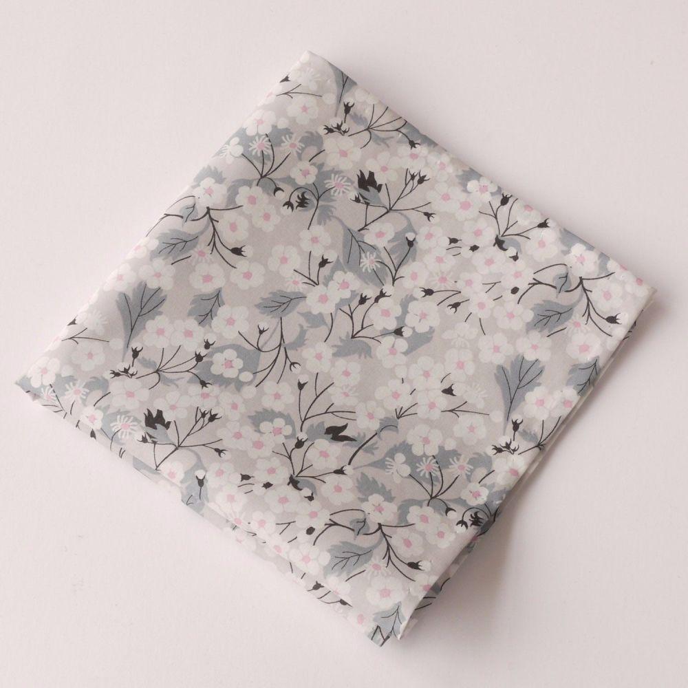 Gentleman's grey floral pocket square - Liberty tana Mitsi