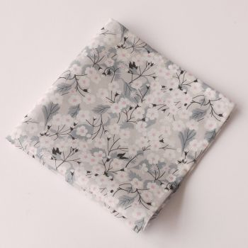 Gentleman's grey floral pocket square - Liberty tana Mitsi