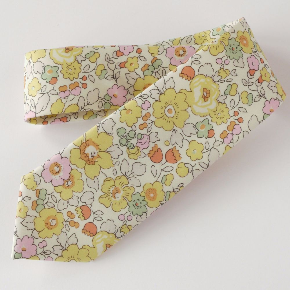 Yellow floral Liberty print tie - Betsy