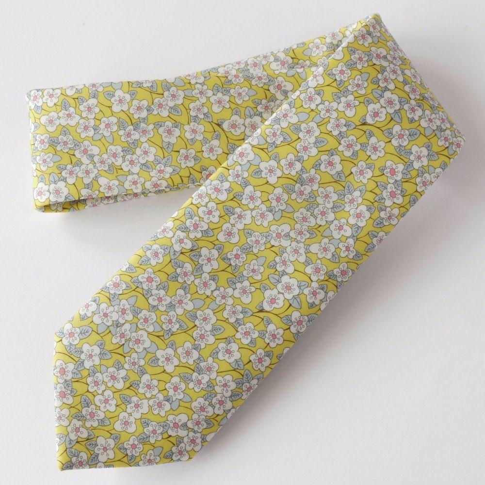 Yellow Liberty print Ffion hand-stitched gentleman's tie