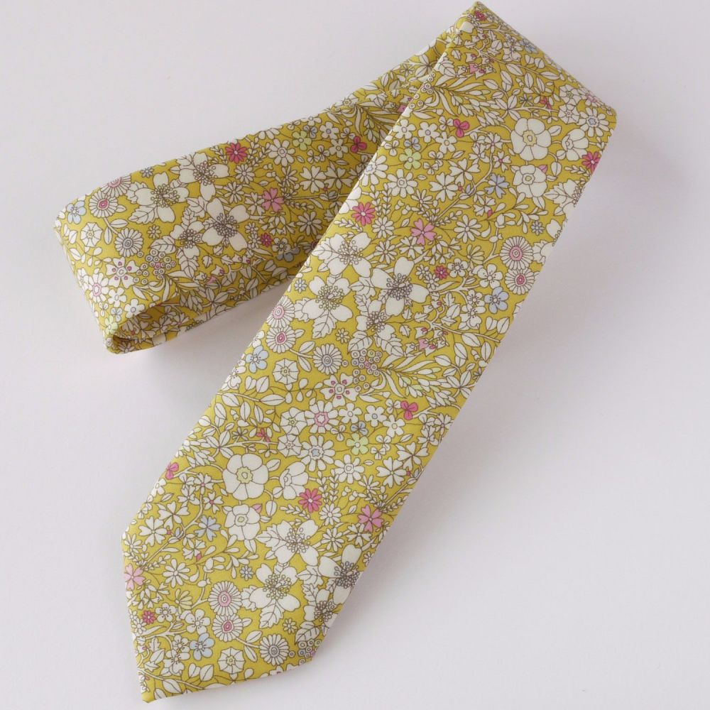 Yellow floral Liberty print tie - June's Meadow