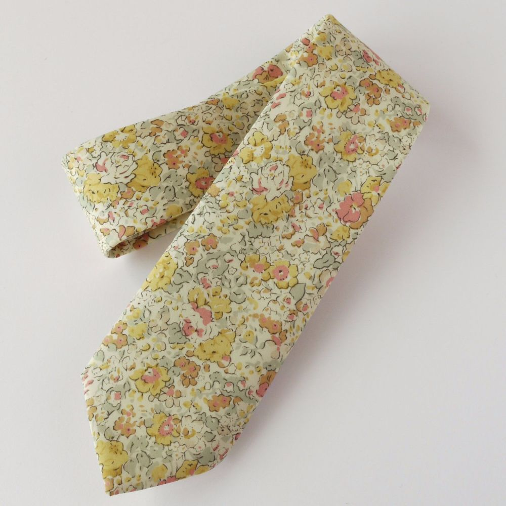 Handmade Liberty tana lawn tie - Claire Aude - yellow floral tie