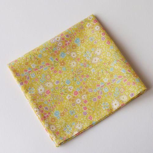 Yellow floral pocket square - Liberty tana lawn Kayoko