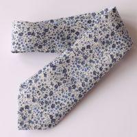 Floral Liberty tana lawn tie - Phoebe blue grey