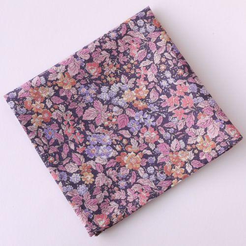Floral pocket square - Liberty tana lawn Prince George purple