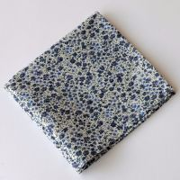 Blue grey floral pocket square - Liberty tana lawn Phoebe