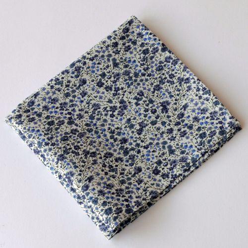 Blue grey floral pocket square - Liberty tana lawn Phoebe
