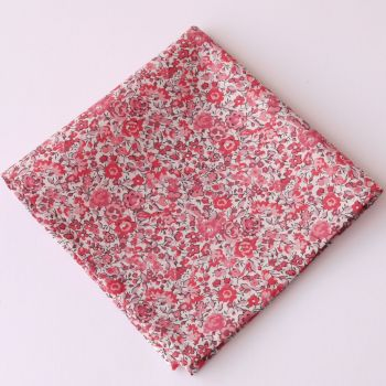 Pink floral pocket square - Liberty tana lawn Emma and Georgina