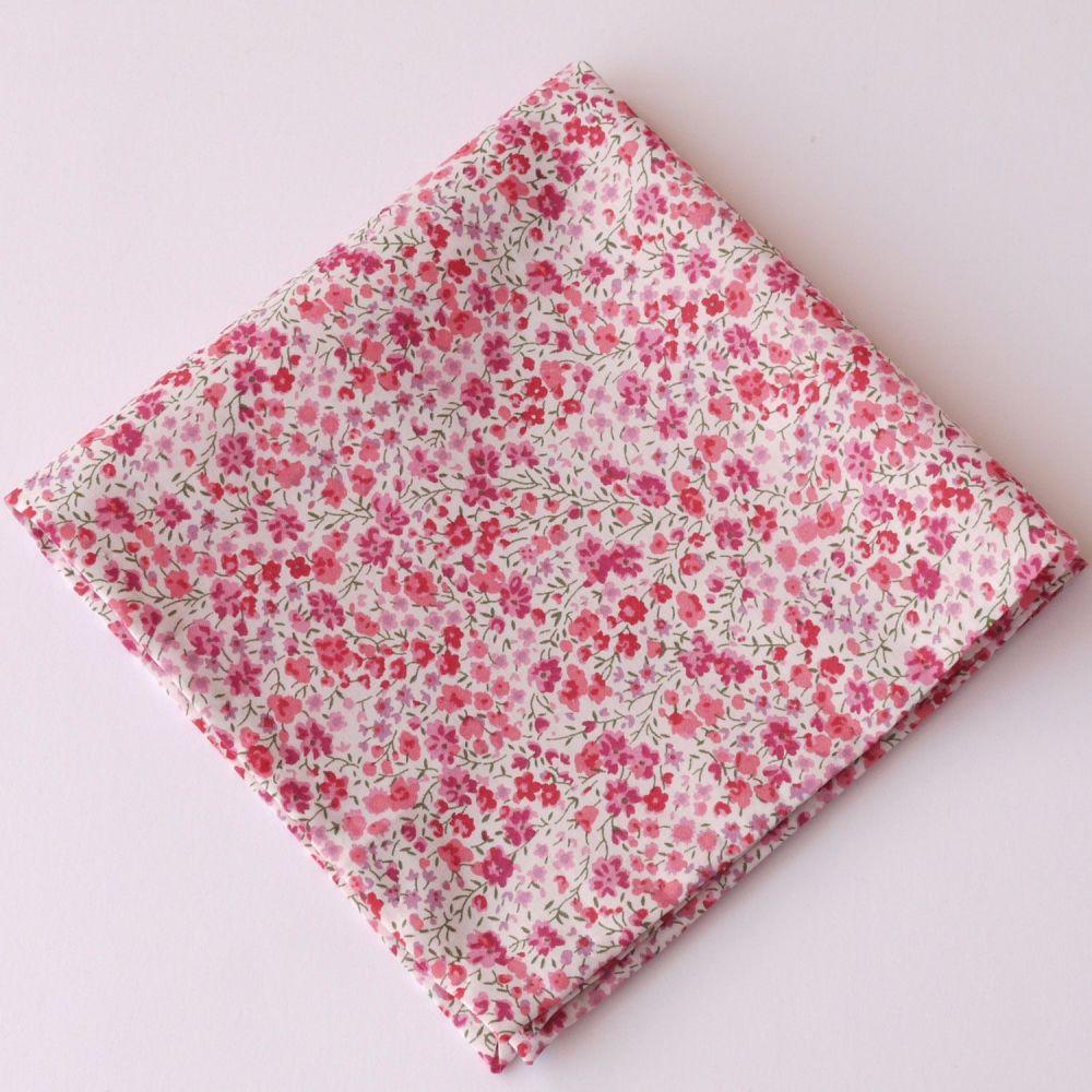 Pink floral pocket square - Liberty tana lawn Phoebe