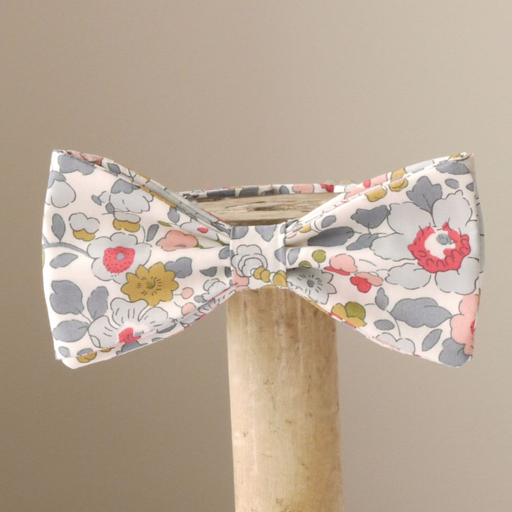 Floral bow tie - Liberty tana lawn Betsy grey