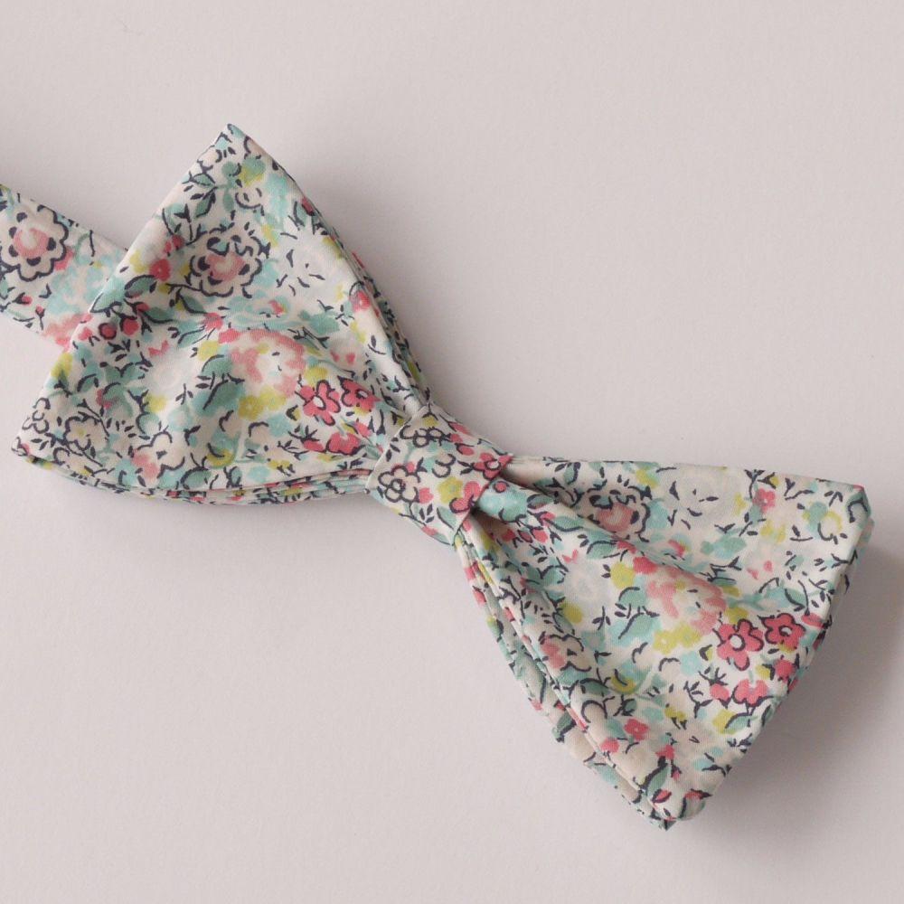Floral Liberty print bow tie - Emma & Georgina turquoise