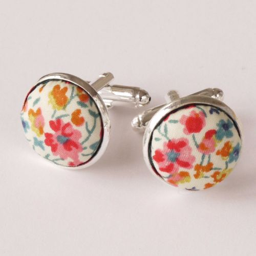 Liberty tana lawn silver plated cufflinks - Phoebe coral