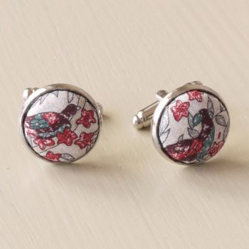 Liberty tana lawn silver plated cufflinks - Jess and Jean