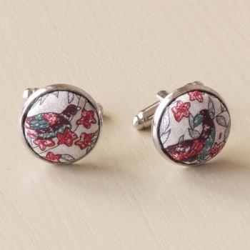 Liberty tana lawn silver plated cufflinks - Jess and Jean