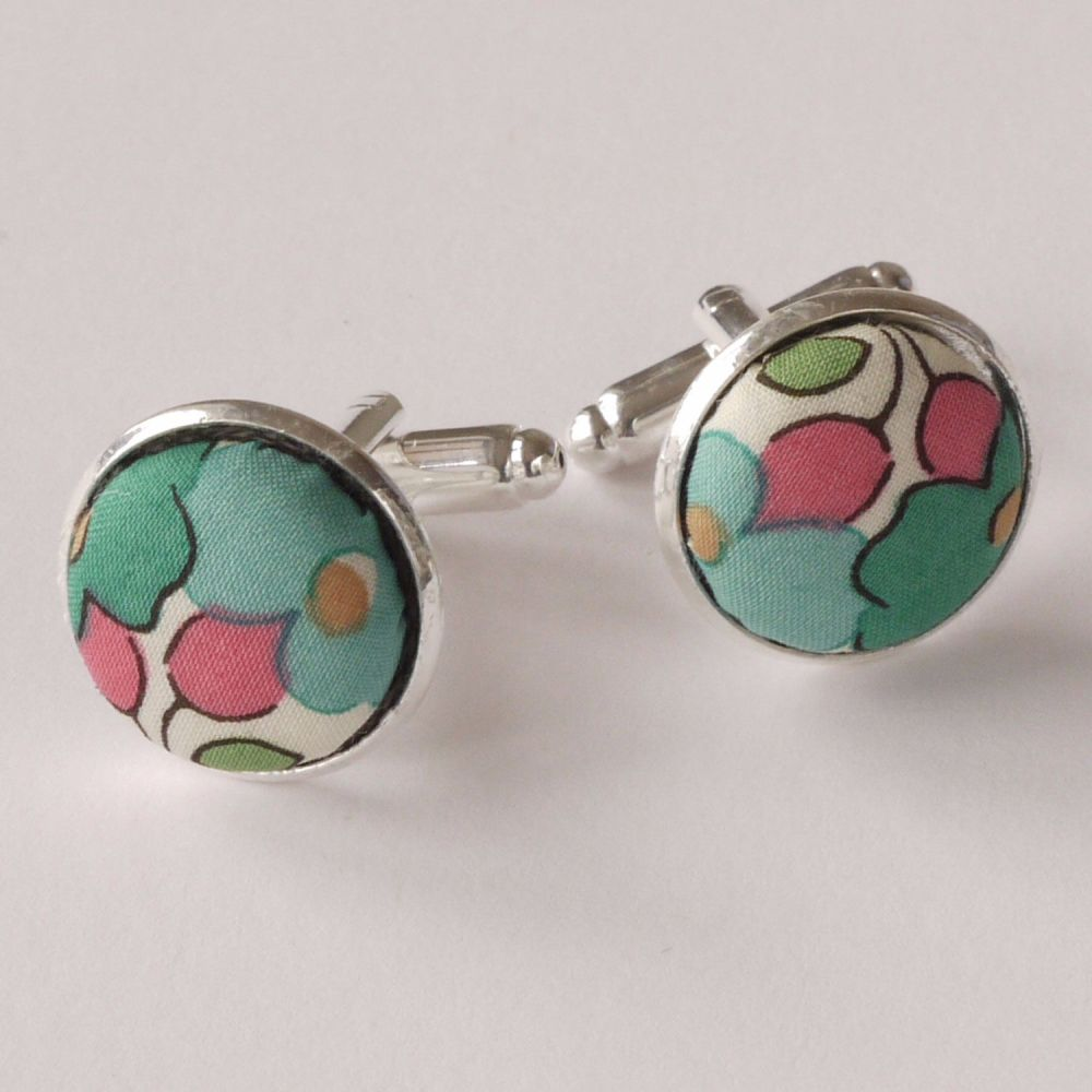 Liberty tana lawn silver plated cufflinks - Betsy green