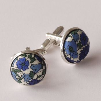 Liberty Petal & Bud blue silver plated cufflinks