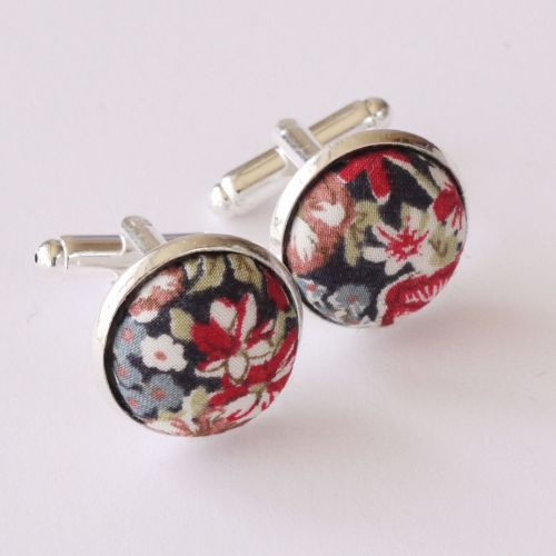 Liberty tana lawn silver plated cufflinks - Chive red