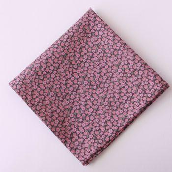 Pink floral pocket square - Liberty tana lawn Penny