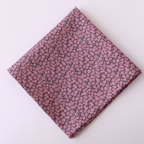Pink floral pocket square - Liberty tana lawn Penny