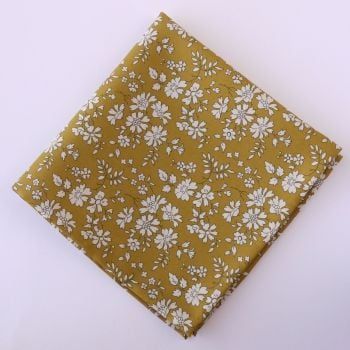 Gentleman's mustard yellow floral pocket square - Liberty tana lawn Capel