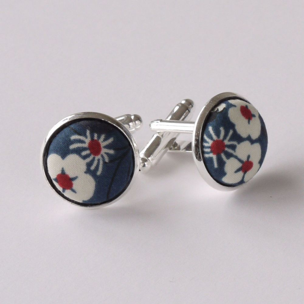 Liberty design Mitsi cufflinks - blue floral cufflinks