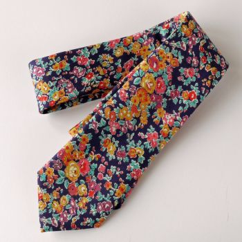 Gentleman's hand-stitched floral tie - Liberty's Tatum blue and orange
